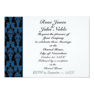 Invitación (azul) de marfil estelar del boda