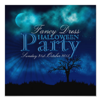 Invitación azul de medianoche de Halloween