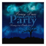 Invitación azul de medianoche de Halloween Nightsk