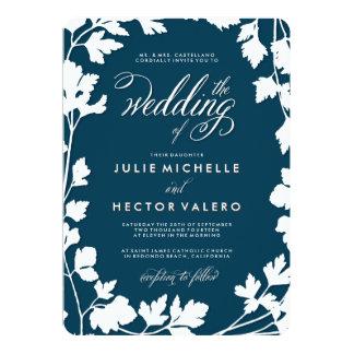 Invitación azul de medianoche del boda del jardín