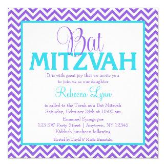Invitación azul de Mitzvah del palo del trullo
