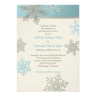 Invitación azul de plata del boda del invierno del