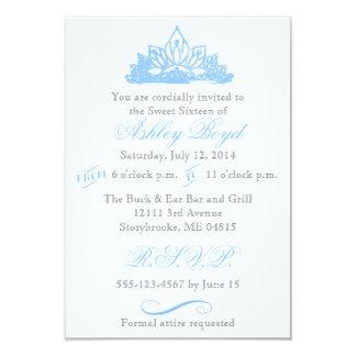 Invitación azul de princesa Sweet dieciséis