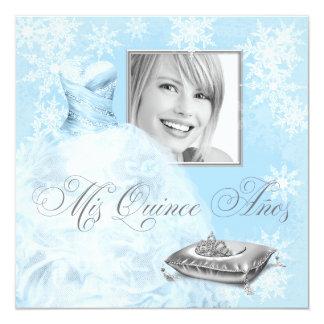 Invitación azul de Quinceanera de la foto del copo