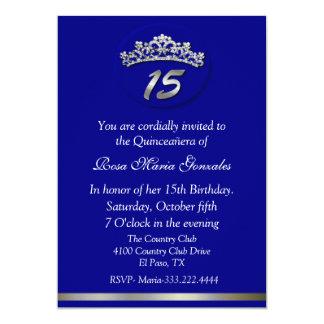 Invitación azul de Quinceañera de la tiara
