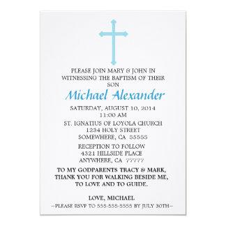 Invitación azul del bautismo