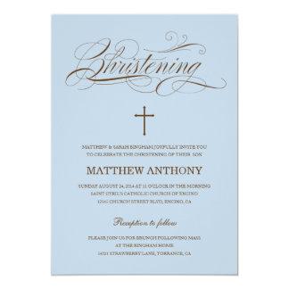 Invitación azul del bautismo de la invitación el |