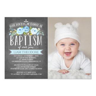 Invitación azul del bautismo de la pizarra color