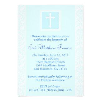 Invitación azul del bautismo/del bautizo