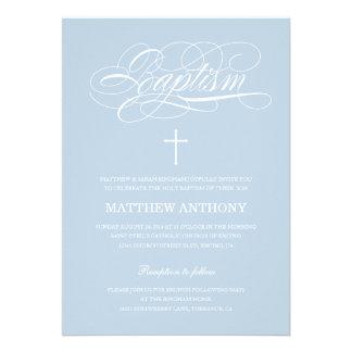Invitación azul del bautizo de la invitación el