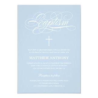 Invitación azul del bautizo de la invitación el |