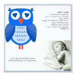 Invitación azul del bebé del búho invitación 13,3 cm x 13,3cm