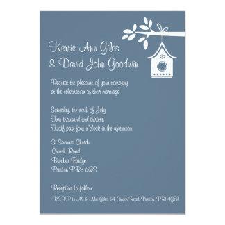Invitación azul del boda de la casa del pájaro