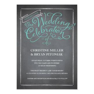 Invitación azul del boda de la escritura de la invitación 12,7 x 17,8 cm