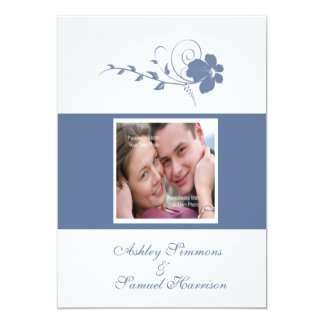 Invitación azul del boda de la foto 5x7 de la flor invitación 12,7 x 17,8 cm