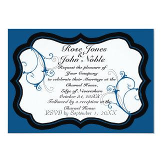Invitación (azul) del boda de la marfil B de