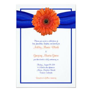 Invitación azul del boda de la margarita