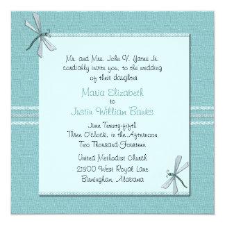 Invitación azul del boda de la mosca del dragón