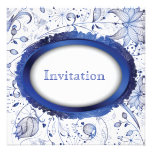 invitación azul del boda de la teja