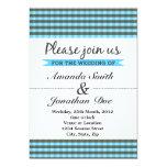 Invitación azul del boda de la tela escocesa invitación 12,7 x 17,8 cm