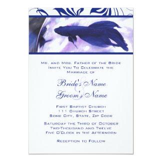 Invitación azul del boda de los pescados de Betta