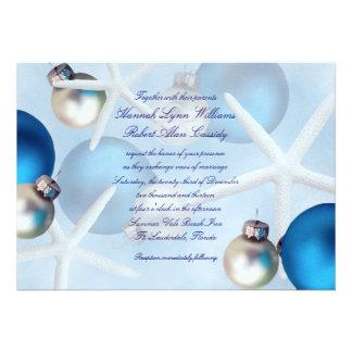 Invitación azul del boda de playa de las estrellas