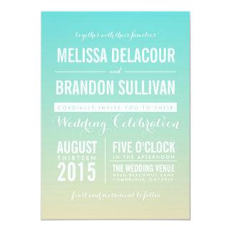 Invitación azul del boda de playa de Tiffany Ombre Invitación 12,7 X 17,8 Cm
