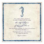 Invitación azul del boda de playa del caballo de