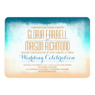Invitación azul del boda de playa del ombre invitación 12,7 x 17,8 cm