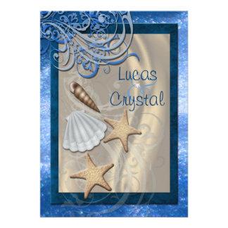 Invitación azul del boda de playa del Seashell bri