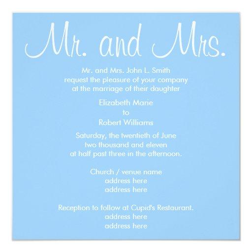 Invitación azul del boda de Sr. y de señora