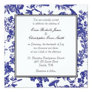 Invitación azul del boda de Toile