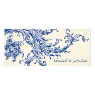Invitación azul del boda del barrido del vintage e