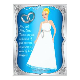 Invitación azul del boda del corazón de la novia
