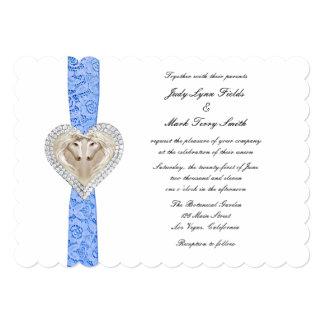 Invitación azul del boda del cordón del unicornio