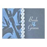 Invitación azul del boda del cuero y del motorista invitación 12,7 x 17,8 cm