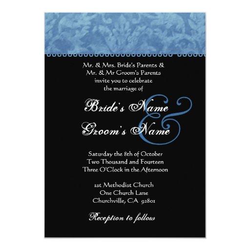 Invitación azul del boda del damasco del batik invitación 12,7 x 17,8 cm