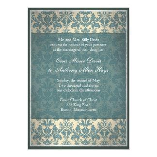 Invitación azul del boda del damasco del vintage