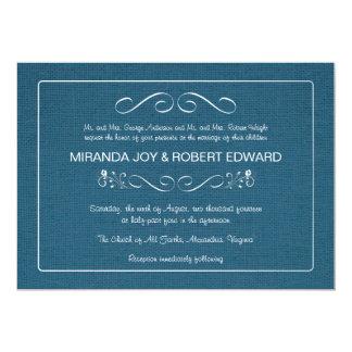 Invitación azul del boda del dril de algodón