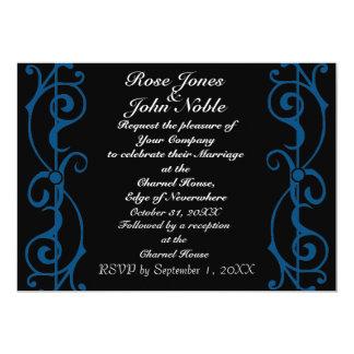Invitación (azul) del boda del ébano de la