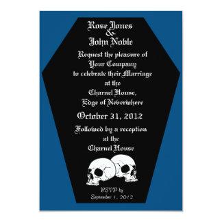 Invitación (azul) del boda del ébano del ataúd