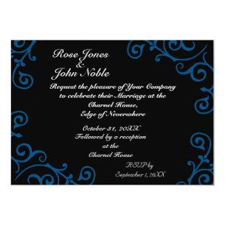 Invitación (azul) del boda del ébano del cirro