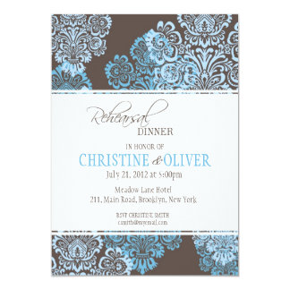 Invitación azul del boda del ensayo del damasco de