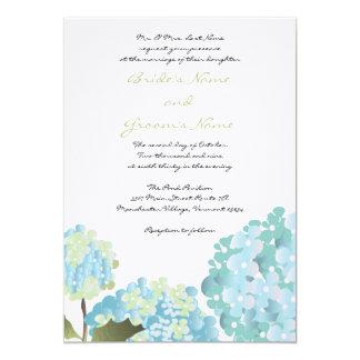 Invitación azul del boda del Hydrangea