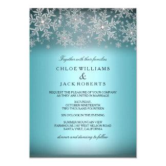 Invitación azul del boda del invierno del copo de