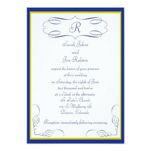 Invitación azul del boda del monograma del oro