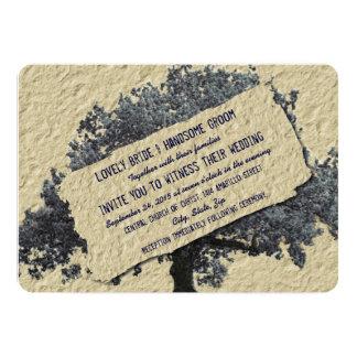 Invitación azul del boda del país del vintage del invitación 12,7 x 17,8 cm