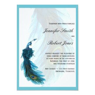 Invitación azul del boda del penacho del pavo real invitación 12,7 x 17,8 cm