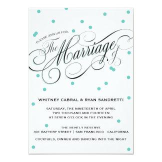 Invitación azul del boda del punto elegante invitación 12,7 x 17,8 cm