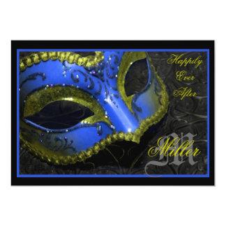 Invitación azul del boda del renacimiento de la
